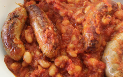 Bangers and beans in a tangy tomato sauce