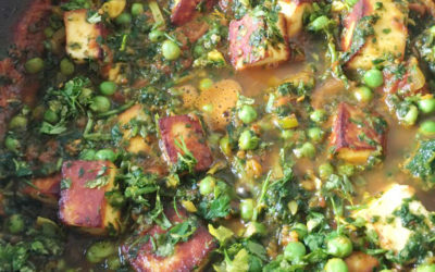 Matar paneer with spinach