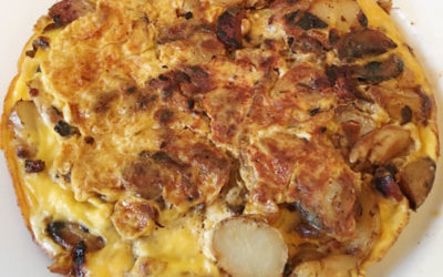 Stovetop frittata with potatoes and mushrooms