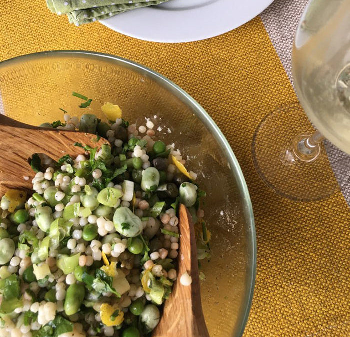 Giant couscous salad with peas, broad beans and lemon