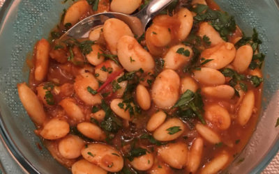 Butter beans in a smoky chilli and lemon sauce