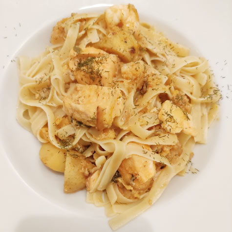 Tagliatelle with Rosy Seafood Sauce