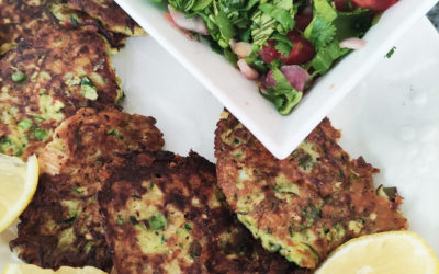 Courgette fritters with a fresh tomato salsa