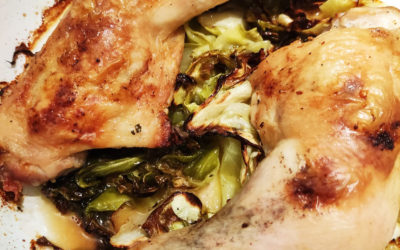 Roast chicken legs with roasted cabbage